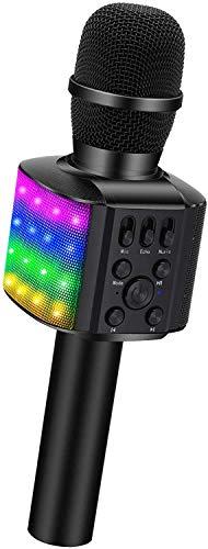 BONAOK LED Flash Microfono Karaoke, 4 in 1 Portatile Karaoke Microfono con Altoparlante per Cantare,...