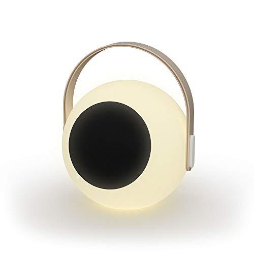 EYE-Lampe für den Außenbereich, wiederaufladbar, RGB mit Bluetooth-Lautsprecher, Holz/ABS, Höhe 28 cm, Weiß