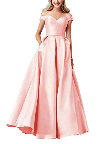 Clothfun Women's Off Shoulder Satin A-Line Formal Prom Dresses Long Evening Gowns with Pockets Blush Pink 2