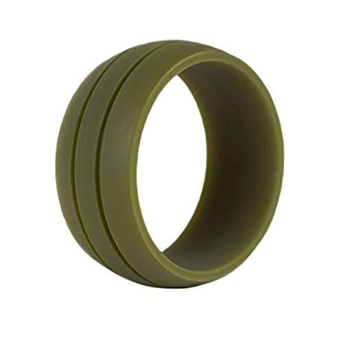Mothcattl Flexibler Silikon-Ehering für Damen und Herren, für Outdoor-Sport, Fitness-Studio, armee-grün, 11 US