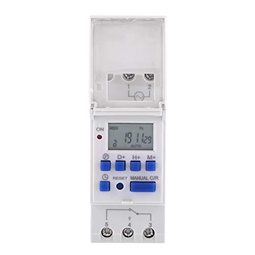 KUIDAMOS Pantalla LCD de 1 Pieza Programable semanal Tiempo de relé electrónico Industrial 16 Temporizador de Encendido y Apagado, para Luces, lámparas, enchufes eléctricos(220V)