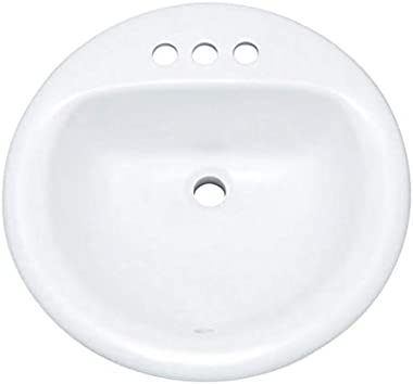 """PROFLO PF194RWH PROFLO PF194R 19"""" Round Drop In Vitreous China Sink with 3 Holes and Front Overlow"""