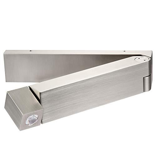 Meanyee 3W CREE muur leeslamp bedlampje met schakelaar, 350 ° draaibaar/schommelarm opvouwbaar/niet dimbaar/nikkel geborsteld MY-WN03