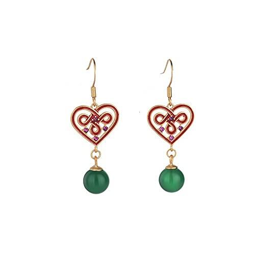 GGSDDU Pendientes largos de esmalte en forma de corazón para mujer, imitación de ágata verde calcedonia, pendientes de metal