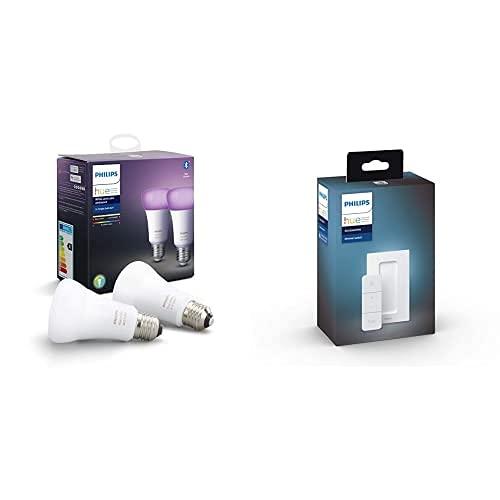 Philips Hue Pack de 2 Bombillas Inteligentes LED E27 + Philips Hue Hue Dimmer Switch Interruptor inteligente