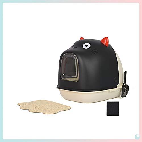 La Basura Completamente Cerrado Gato Cuenca del tocador del Gato Semi-Cerrado, Grande Arena for Gatos Caja Creativa, fácil de Limpiar y Durable de Arena for Gatos Pan (Negro) (Color : Black)