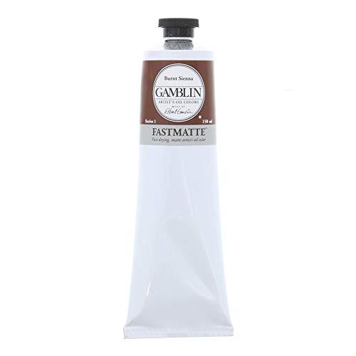 Gamblin Artist Paint, FastMatte Alkyd Colors, Fast Drying Oil Paint, Burnt Sienna, 150ml Tube