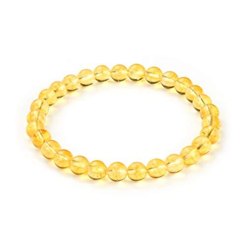 Natural Yellow Citrine Bracelet 7.5 Inch Stretchy Gemstone Bracelet Chakra Gems Stones Healing Crystal Birthday Gifts GB6-B27