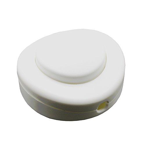 Fußschalter Weiß Matt für Rundkabel 250V/2A Schnurzwischenschalter für Zuleitungen und Anschlusskabel Fußtretschalter Ø 65x30