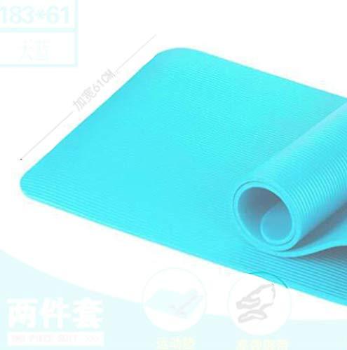 Yogamat voor beginners, zwart, voor mannen en vrouwen, antislip, groene standaard voor trompet, trainingsbuis, bodybuilding, sport