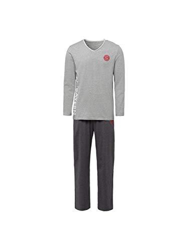 FC Bayern München Schlafanzug Herren/Langer Pyjama Baumwolle grau/S