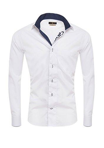 Giorgio Capone Premium Design Herrenhemd, 100% Baumwolle, weiß, Kent-Kragen und Giorgio Capone dunkelblauer Stickerei in der Knopfleiste, Langarm, Slim & Regular Fit (XL Reg)
