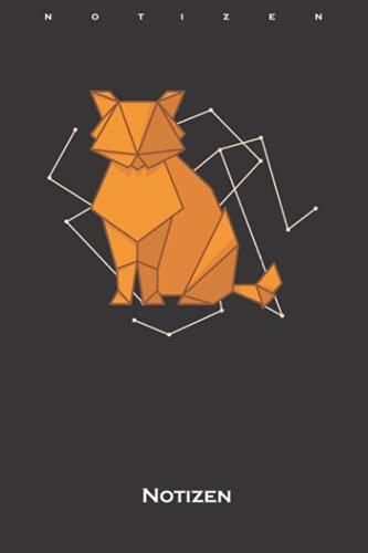 Origami Katze als Papierform Notizbuch: Punkteraster Notizbuch für Fans der japanischen Papierfaltkunst