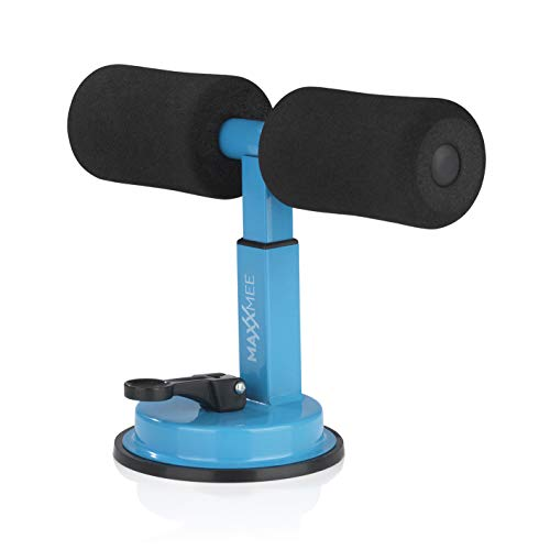 MAXXMEE Trainings-Assistent Sit-Up | Halterung fürs Bauch- & Armmuskeltraining | Befestigung per Saugnapf - für nahezu Jede Glatte Oberfläche | Bis zu 90 kg Tragkraft [schwarz/blau]