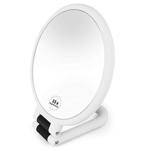 Espejo maquillaje, Espejo de Mujer mano de doble cara con lupa de 1X 15X, Espejo de viaje Baño con soporte de mano profesional con mango plegable ajustable (Blanco)