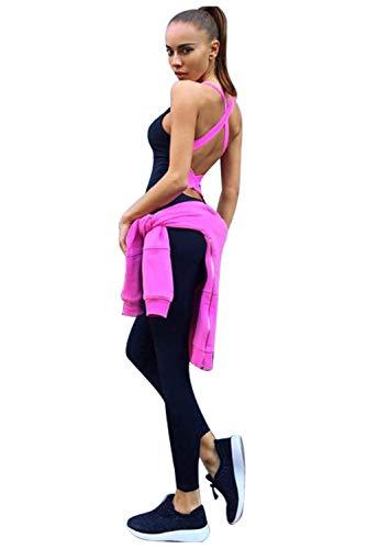 Donna Tuta da Ginnastica 2 Pezzi Crop Tops e Pantaloni Vita Alta Abbigliamento Sportivo Estivo Stampa Floreale Tute Aderenti Ragazza Senza Maniche Skinny Salopette Sportwear da Yoga Jogging Fitness