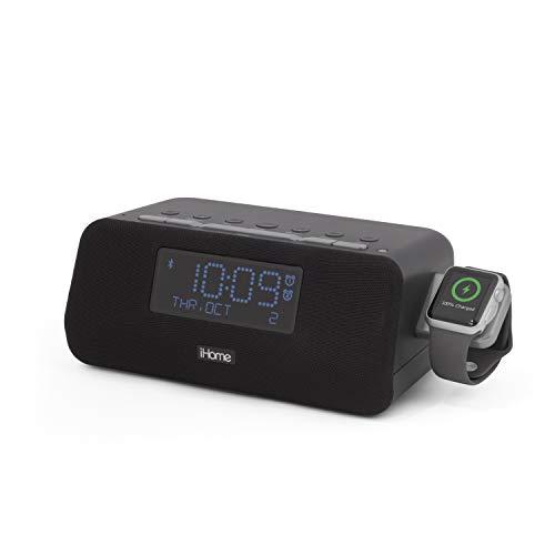 iHome IWBT5 Bluetooth Alarm Clock FM Stereo Radio, Apple Watch Charging, Dual USB Charging Ports, Speakerphone, and Dual Alarm Bedside Desk Clock