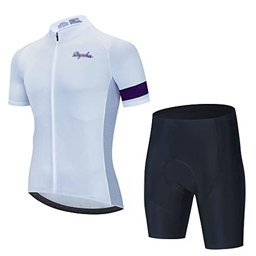 Secado Rápido para Hombres Jersey de Ciclismo Conjunto de Babero y Pantalones Cortos Acolchados con Esponja 3D, para Montar En Carreras Acampar Deportes al Aire Libre ( Color : Style 2 , Size : XL )