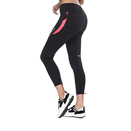 Santic Pantaloni Ciclismo Donna Imbottiti Pantaloni Ciclista Donna Pantaloni Bicicletta Imbottiti per Donna Rosa EU XL