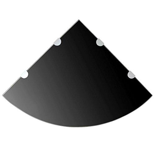 binzhoueushopping glazen rek hoekrek glas wandplank zwart zwevende rek 45 x 45 cm