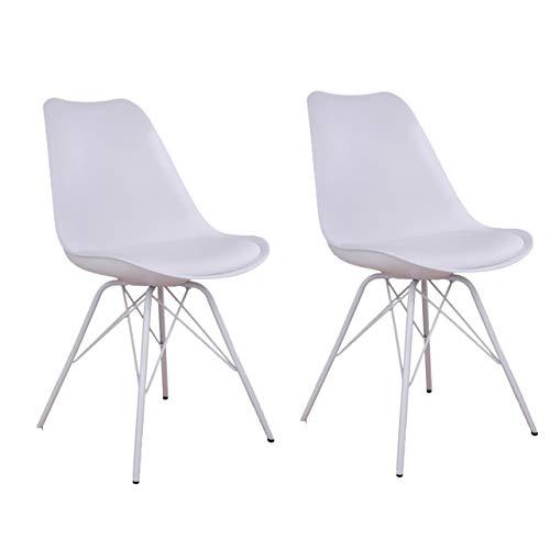 Nimara 2er Set Comfort Stuhl in skandinavischem Design   Esszimmerstühle und Küchenstühle   Stühle in Schwarz, Weiß, Grau und Mehreren Farben   Sitzkissen Stuhl   Retro Stuhl (Weiß (Weiß Beine))