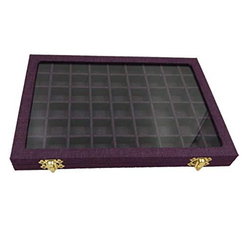 joyMerit 54 Grids Clear Lid Jewelry Tray Showcase Display Storage Estuche de Lino - Púrpura, 31x22x2.8cm