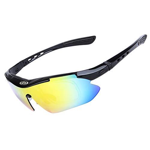OPEL-R Gafas Ciclismo Motocross Anti-UV400 Gafas De Sol Polarizadas 5 Lentes para MTB Correr, Pescar, Conducir, Deportes Al Aire Libre (BRIGHTBLACK)