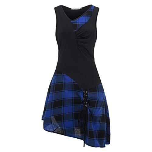 Kleid Damen Lässiger O-Neck Kurz Schnüren Sie Sich Tartan Rock Sommer Plaid Print Asymmetrical Mini Kleider Mode 2019