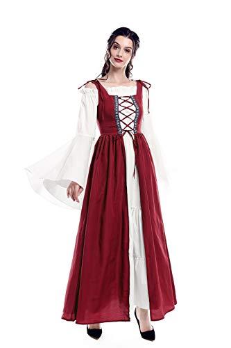 Renaissance Costume Women Plus Size Over Dress Chemise Boho Set Medieval Celtic Irish Dress Costume Red S/M