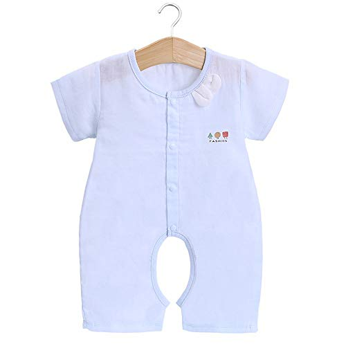 DURIAN MANGO Kurzarm-Schlafsack für Babys Overall aus Baumwolle mit offenem Schritt,Blue,XL