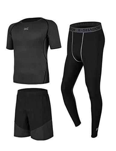 Bestgift Ensemble de Sportwear avec Pantalon Courir Homme XXXL Cation Starry Gris 3 pièce