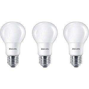 Philips Bombilla LED estándar E27, 8W equivalentes a 60W en incandescencia, 806 lúmenes, luz blanca cálida, pack de 3