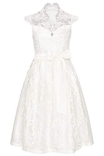 MarJo Damen Hochzeits-Dirndl mit transparenter Spitze weiß, WEIß, 32