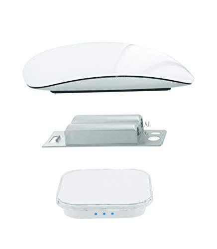 Power Technologie - Batteria Ricaricabile a Induzione Qi per Magic Mouse 1 Apple + Caricatore a Induzione da 10 W, Accessorio per Mouse Apple, Bianco