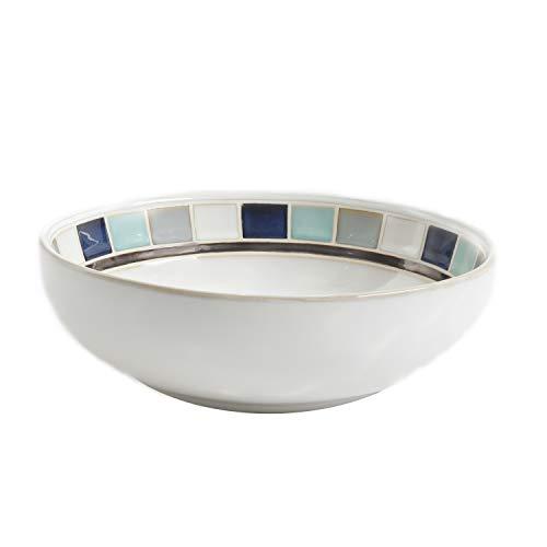 Gibson Elite Casa Blanca Round Reactive Glaze Stoneware Dinnerware Set Serving Bowl 10 WhiteBlue