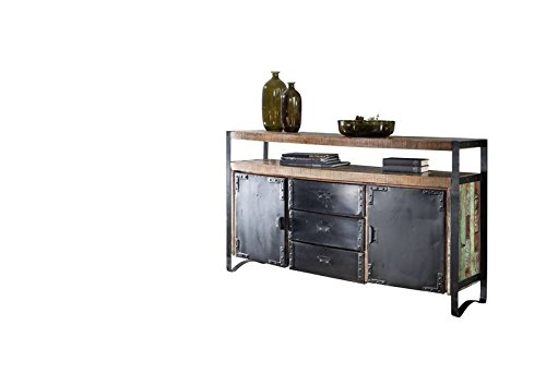 MASSIVMOEBEL24.DE Industrial-Stil Altholz lackiert Sideboard massiv Holz Eisen Massivmöbel Industrial #06