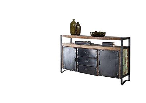 MASSIVMOEBEL24.DE Industrial #06 Credenza in Legno Riciclato e Ferro - Laccato Multicolore 150x43x90