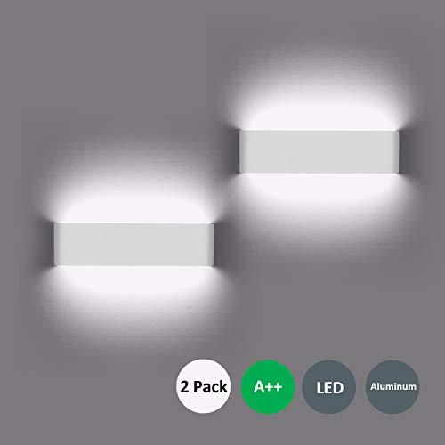 Wandleuchte LED Innen 2 Stücke Wandleuchten 12W Wandlampe mehr Hell Moderne Wandbeleuchtung Perfekt für Schlafzimmer, Wohnzimmer, Treppen und Badezimmer Licht, Kaltes Weiß