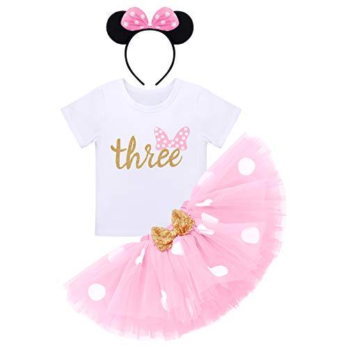 Baby Mädchen Dritter 3. Geburtstag Party Outfit Minnie Kostüm Baumwolle Kurzarm Top T Shirt Prinzessin Gepunktet Tütü Tüll Rock Stirnband 3tlg Bekleidungsset Rosa 3 Jahre