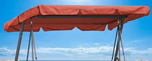 QUICK STAR Ersatzdach Gartenschaukel Universal PASSEND von 110x170cm bis 145x200cm Hollywoodschaukel 3 Sitzer UV 50 Ersatz Bezug Sonnendach Schaukel Terra/Orange