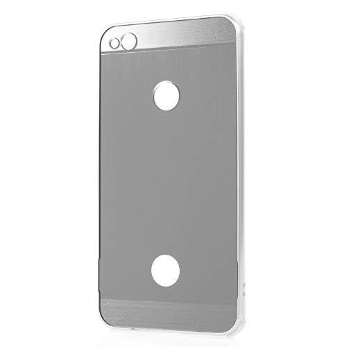 Carcasa para Huawei P8 Lite 2017 (PRA-LX1) / P9 Lite (2017) Carcasa Bumper Plata + Marco Aluminio Plateado Metal Rayado