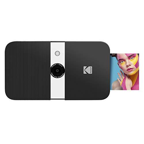 KODAK Smile Cámara digital de impresión instantánea, Cámara de 10MP que abre al deslizarse c/impresora 2x3 ZINK, Pantalla, Enfoque fijo, Flash automático y edición de fotos, Negra/Blanca