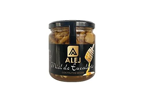 Alej Miel Pura de Abeja Natural Ecologica Gourmet miel Cruda de eucalipto con Frutos Secos, Miel 100% Pura Natural Española Honey Sin Filtrar, En Tarro de Cristal de 400g