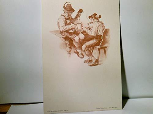 Paul Knäbchen in Zöblitz. Künstler Litho / AK s/w. Verlag Gerlach & Schenk in Wien No 23. Zwei musizierende Männer in Tracht, ca 1900 ungel. Brauchtum, Trachten, Tanz, Kunst Alte Ansichtskarte / P ...