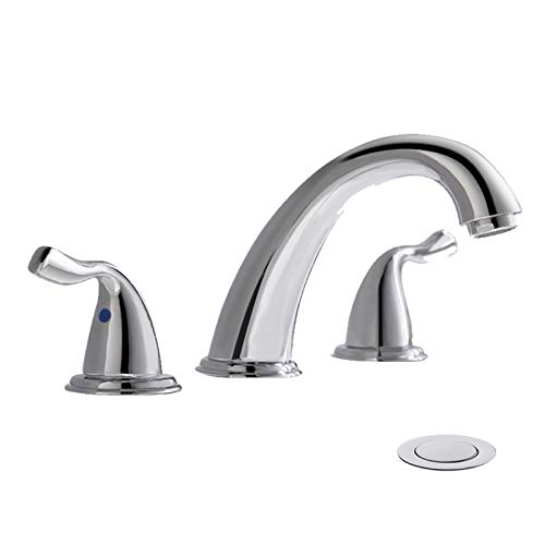 Widespread 8 Inch 3 Holes Double Handles Bathroom Faucet with Copper Drain and Valve by PHIESTINA, Chrome Finish, WF008-7-C