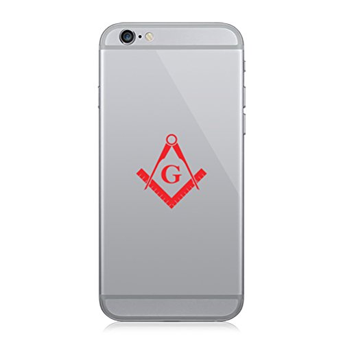 Pair of Freemasonry Emblem Cell Phone Stickers Mobile Freemason Masonic - Red