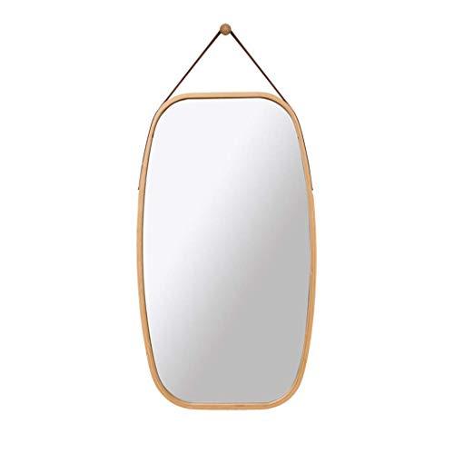 HAOYANGDE Engdjz spegel rektangel hängande spegel, bambu inramad med faux läderband fåfänga spegel, badrum speglar, hög trovärdighet Imaging spegel, råvarukod: jzemgd- 64