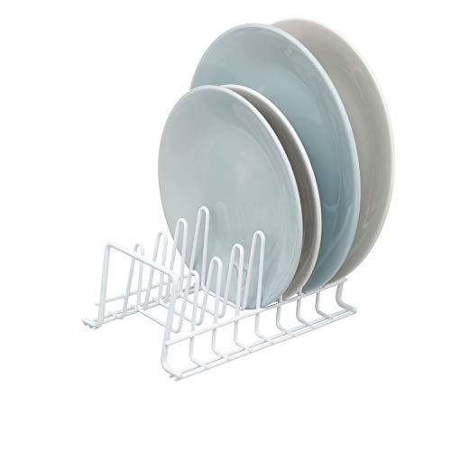 simplywire - Plate Rack / Drainer - Kitchen Cupboard Storage Organiser - White - Small