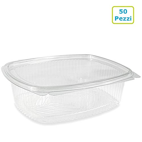 Vaschette ovali in PET Scatola da 50 vaschette 1500cc trasparenti usa e getta con coperchio unito Contenitori monouso di plastica con chiusura ermetica