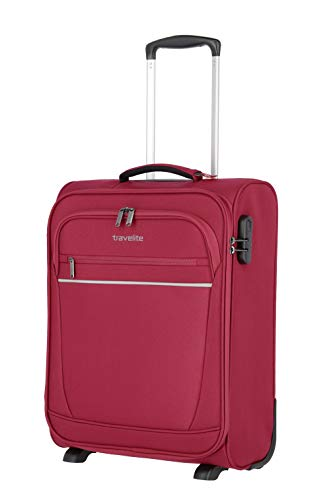 travelite 2-Rad Handgepäck Koffer mit Schloss erfüllt IATA Bordgepäck Maß, Gepäck Serie CABIN: Kompakter Weichgepäck Trolley, 090237-17, 52 cm, 39 Liter, beere (fuchsia/pink)